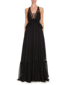 B3HVA Givenchy Sleeveless Lace-Trim Halter Gown, Black