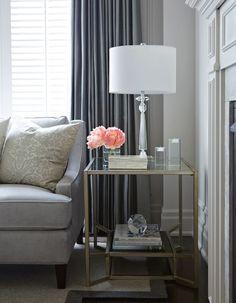 Gluckstein Home: Gorgeous blue living room with slate blue silk drapes framing Gluskstein Home Islington ...