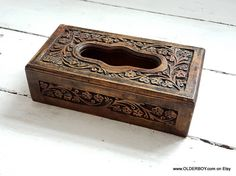 Vtg CARVED TISSUE BOX wooden wood pix for tissue box vintage carved tissue holder wooden box vintage home decor collectible box O11/656