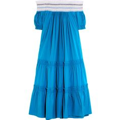 Peter Pilotto Petra off-the-shoulder cotton-blend poplin dress ($1,490) ❤ liked on Polyvore featuring dresses, blue, blue off the shoulder dress, tiered ruffle dress, blue dress, peter pilotto dress and smocked dresses