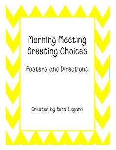 Morning Meeting Greeting Choices