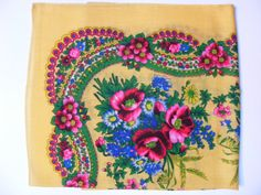 Gypsy Shawl with Rose and Floral Design - $20 - This uniquely designed, hand-sewn scarf stretches 75 by 71 cm and displays roses, a traditional motif in the Roma culture. Hand Sewn, Stretches, Shawl, Gypsy, Floral Design, Roses, Culture, Traditional, Trending Outfits
