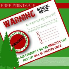 FREE Elf Naughty List Certificate Printable. See 15 more FREE Elf on the Shelf Printables on www.prettymyparty.com.