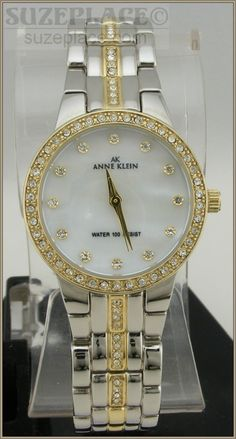New Woman's Two Tone Anne Klein Watch With Swarovski Crystals