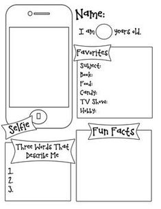 Use this fun handout to get to know your students! This activity is probably geared towards upper elementary but can be used with all students. Kids can draw a self portrait or include a photograph.: