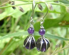 Tiny Amethyst Sterling Silver Earrings  by nicholasandfelice