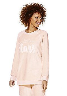 F&F Stars Slogan Fleece Lounge Sweatshirt - Pink