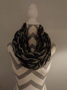 Arm Knitted Single Loop Cowl - Scarf by IdleHandsCrochetKnit on Etsy