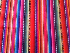 Tribal Fabric - Multi blue stripes aguayo fabric - Peruvian fabric