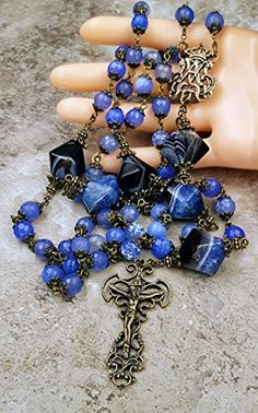 Blue Agate for Longevity Vitality StressProtection Love and Happiness One of the kind Heirloom Antique Style Handcrafted Rosary. - Blue Agate Gemstone faceted 8 mm beads - Large 25 mm Blue Black ...
