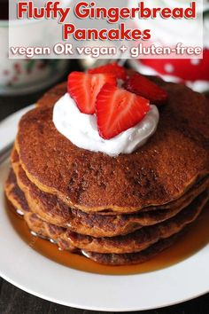 Easy Gluten Free Vegan Gingerbread Pancakes that are perfectly spiced and make a festive addition to your holiday table (they're also great to enjoy year-round!) #veganglutenfree glutenfreevegan #glutenfreepancakes #veganpancakes #veganbreakfast #gingerbreadpancakes #vegangingerbread Low Carb Vegan Breakfast, Vegetarian Breakfast, Vegan Breakfast Recipes, Vegan Recipes Easy, Vegan Desserts, Gluten Free Recipes, Pancake Recipes, Gf Recipes, Vegan Sweets
