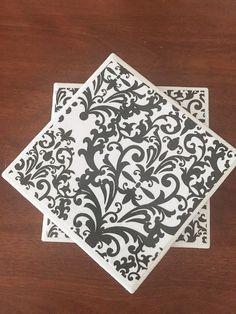 Black coasters ceramic tile coasters floral by KCstylejewelry