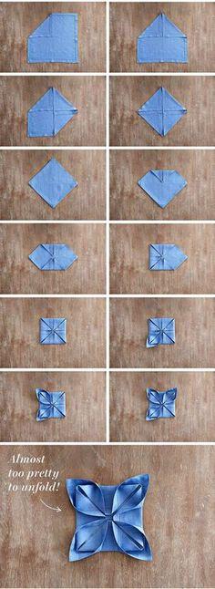 Pliage de serviette en forme de lotus. 14 pliages de serviettes faciles pour vos magnifiques tables de fêtes