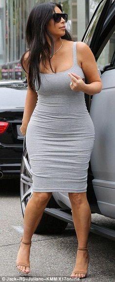 Kim Kardashian's bumping along in tight grey dress - Kim Kardashian Style