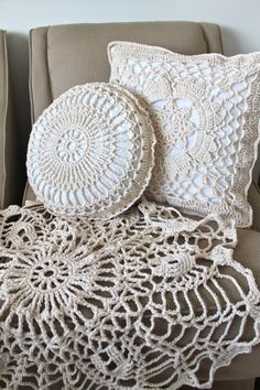 Pillows Crochet Handmade Home Decor Accent Pieces Round Square Doily Show Blanket Organic Cream Neutral Cotton. $100.00, via Etsy.