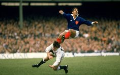 Serge Blanco of France and Rob Andrew of England