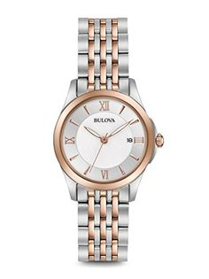 Never go out of style wearing this Bulova two-tone stainless steel bracelet watch. The timeless design includes a clean white dial simply styled with rosetone features and a discrete date window. From Bulova. Stainless Steel Watch, Stainless Steel Bracelet, Bulova Watches, G Shock Watches, Beautiful Watches, Elegant Watches, Quartz Watch, Gold Watch, Bracelet Watch