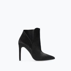 Zara || Leather high heel boot with fur