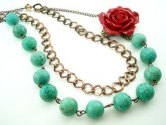 Turquoise Stone Red Rose Charm Necklace Wedding by LOVELIFExR15, $30.00