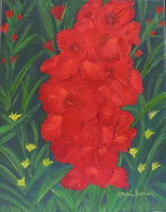 Tami Baron - Red Gladiolus Oil on canvas 11 x 14