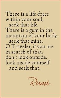 There is a life-force within your soul, seek that life. There is a gem in the mountain of your body, seek that mine. O traveler, if you are in search of That Don't look outside, look inside yourself and seek That. - Rumi poetry #poem #soul