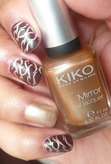 Kiko gold mirror and stamping with Gals plates.