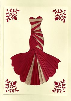 Ribbon Iris Fold Card - Dress in Red and Ivory