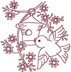 Redwork Little Bluebird & House Embroidery Design