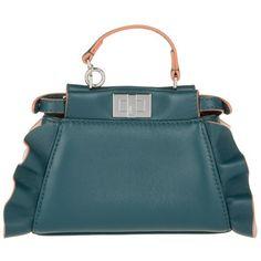 Fendi Shoulder Bag - Micro Peekaboo Crossbody Nappa Shiny Waves... (53.930 RUB) ❤ liked on Polyvore featuring bags, handbags, shoulder bags, green, blue handbags, fendi purse, blue purse, green purse and handbag purse