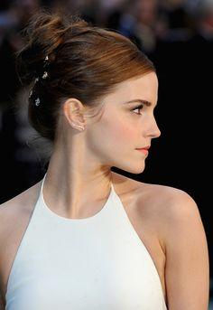 top knot #hairstyle x diamond ear cuff :: Emma Watson