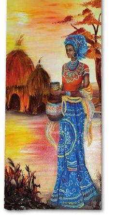 from Hobby Book 29 Tex Art African Girl, African American Art, African Beauty, Black Girl Art, Black Women Art, Black Art, Afrika Tattoos, Afrique Art, African Art Paintings