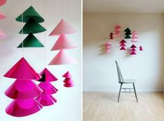 Green paper tree hanging from ceiling....23 Magnificent DIY Christmas Trees and Ornaments