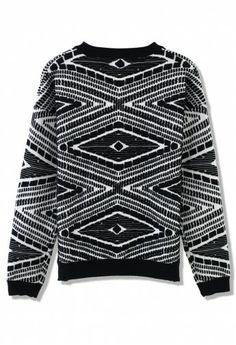 Aztec Embossment Sweater in Black