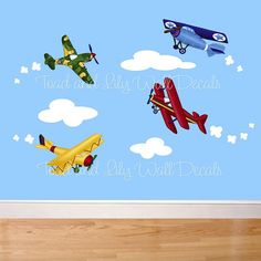 Up Up and Away Little Airplanes Large WALL DECALS Boy's Bedroom Baby Nursery Art Decor on Etsy, $75.00