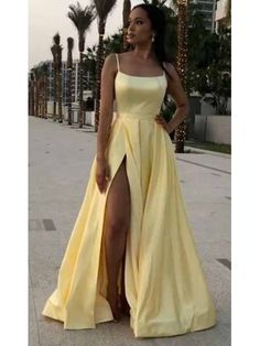 Apr 2020 - Simple Prom Dresses Long Prom Dress Fashion School Dance Dress Winter – PromDressForGirl Pretty Prom Dresses, Simple Prom Dress, Winter Formal Dresses, Dress Winter, Yellow Formal Dress, Yellow Prom Dresses, Yellow Satin Dress, Dress Black, School Dance Dresses