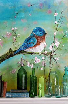 Craftberry Bush: Palette Knife Acrylic Painting - Blue Bird
