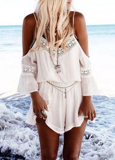 Boho Style Off The Shoulder Playsuit|Disheefashion