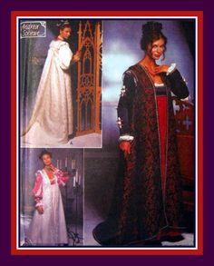 RENAISSANCE LONG COAT-Costume Sewing Pattern-Three Styles Balloon Sleeves-Sleeveless-Shaped Train-Lined-Shoulder Roll-Uncut-Size Xs-M-Rare by FarfallaDesignStudio on Etsy