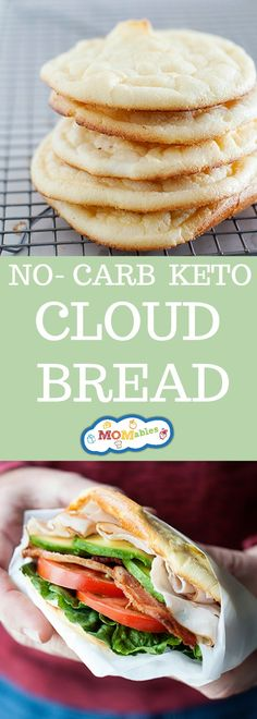 No carb, gluten-free, and full of fluffy texture, this cloud bread is going to blow your taste buds. Also, the perfect substitute for bread. Source by MOMables No Carb Cloud Bread, Low Carb Bread, Low Carb Keto, Low Carb Recipes, Cooking Recipes, Healthy Recipes, Free Recipes, Vegetarian Recipes, Healthy Eats