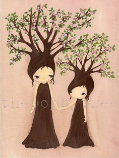 Tree PrintMommy And Me Apple Trees by thepoppytree on Etsy, $18.00