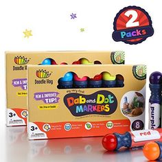 Dab and Dot Marker Set of 8 Washable Paint Dauber / Markers /Dabbers for learning Alphabets, Numbers, Math, Speech & Art Educational Activities in Preschool Kindergarten and Homeschool