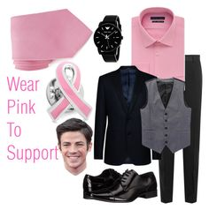 """""""I Wear Pink to Support"""" by taoptimist on Polyvore featuring Dolce&Gabbana, Geoffrey Beene, Armani Collezioni, Calvin Klein, Giorgio Armani, Nordstrom Rack, men's fashion, menswear and IWearPinkFor"""