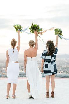 Modern 4th of July Summer Wedding Inspiration - photo by Jessica Lynne Photography http://ruffledblog.com/modern-los-angeles-wedding-shoot-with-greenery