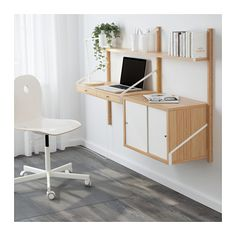 SVALNÄS Wall-mounted workspace combination, bamboo, white bamboo/white 59x13 3/4x36 5/8