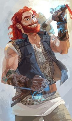 Thor Official Art by Viria | Magnus Chase and the Gods of Asgard | redhead | hammer of thor | MCGA | Norse Mythology