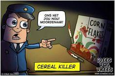 #crealkiller #snaaks #afrikaans #ivv #Ideesvolvrees  #grappe C Real, Afrikaans, Bart Simpson, Comedy, Cereal Killer, Family Guy, Jokes, Hand Luggage, Guys