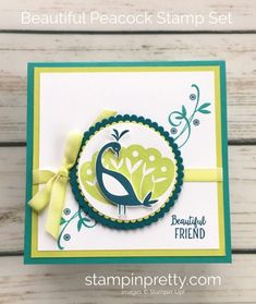 Learn how to create this simple friend card using Stampin Up Beautiful Peacock Stamp Set - Mary Fish StampinUp Ideas