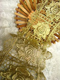 Gold Lace Trim Golden Cord Crocheted Lace Fabric by LaceFun, $6.99