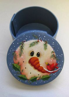 Round Pantry Box With Snowman