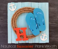 Make an easy and cute Summer Wreath using, shims, rope, and even a pair of adorable flip-flops!